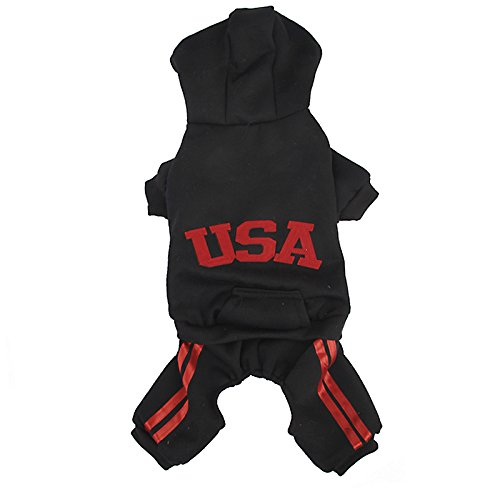 Imported USA Cotton Coat Jacket Hoodie Jumpsuit Small Boy Girl Dog Clothes M Black