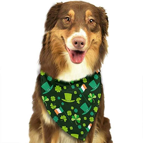 Wfispiy St. Patrick's Day Irish Shamrock Muster Double Cotton Puppy Bandana Lätzchen Dreieck Schals Halstuch