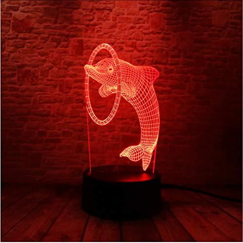 Zlxzlx Neue 3D Schöne Dolphin Piercing 7 Farben Led Nachtlicht Illusion Ir Remote Touch Schalter Schlafzimmer Tisch Kinder Kind Xmas Party Spielzeug