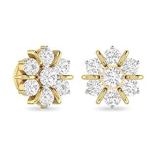 PC Jeweller The Nagida 18KT Yellow Gold and Diamond Stud Earrings for Women
