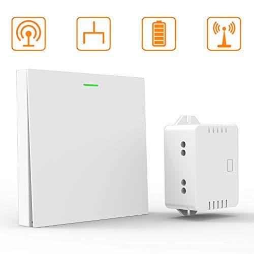 Interrupteur de Lumière sans Fil, sans pile, Blanc, Signal de Transmission Extérieur de 70 Mètres, Tension AC180v-260v, Offrant une vie Confortable et sûre