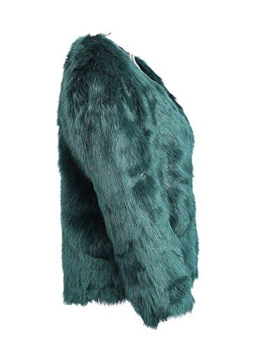 Simplee Apparel Damen Mantel Winter Elegant Warm Faux Fur Kunstfell Jacke Kurz Mantel Coat Grün