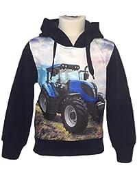 ecfdb098e54c SQUARED   CUBED Jungen Hoodie Traktor Foto Druck Blau Sweatshirt Kapuze
