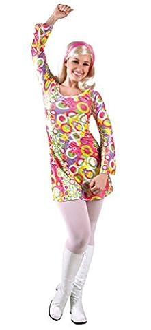 ,Karneval Klamotten' Retro Hippie Disco Kostüm Damen 60er 70er Jahre Flower Power Kleidung Kleid inkl. Stirnband Größe (70er Jahre Disco-kostüme Für Kinder)