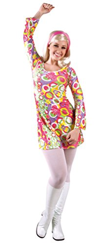 Karneval-Klamotten' Retro Hippie Disco Kostüm Damen 60er 70er Jahre Flower Power Kleidung Kleid inkl. Stirnband Größe ()