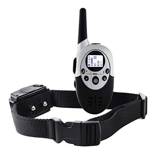 TSTLCLLMZ Dog Training Collar26.500 Yard Range-Rechargeable & Waterproof, 3 Mode Continuous Vibration/Vibration/Beep,Silver