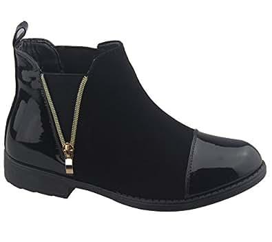 Kollache - Scarpe invernali da donna, stivaletti alla caviglia stampa cocco con tacco basso e cerniera, nero (Black), 35.5