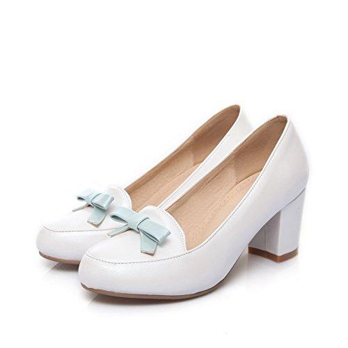 AgooLar Damen Mittler Absatz Rein Ziehen Auf Rund Zehe Pumps Schuhe Weiß