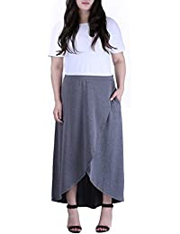 HDE Womens High Low Skirt Wrap Style Midi Maxi Hi Low Open Casual Jersey Skirt