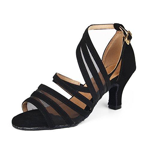 Zapatos de baile SUKUTU para mujer, para baile latino, tango, salsa, de raso SU002, color Negro, talla 23 cm/37 EU