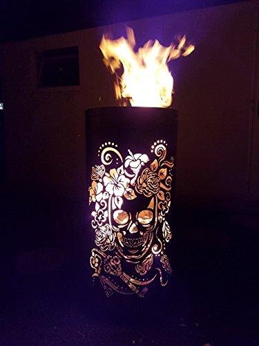Tiko-Metalldesign Feuerkorb/Feuertonne mit Motiv Skull & Flowers