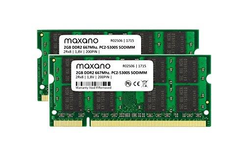 667 Mhz Dual-channel-kit Speicher (Maxano® 4GB Dual Channel KIT (2x 2GB Module) DDR2 667Mhz PC2-5300S SO Dimm Arbeitsspeicher für Notebook, Netbook und MAC)