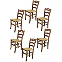 Tommychairs sillas de Design - Set de 6 sillas Savoie 38 Cocina, Comedor, Bar y Restaurante con Estructura en Madera Color Nuez y con Asiento en Paja