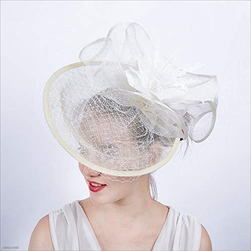 Ich werde jetzt Maßnahmen ergreifen Mädchen-Dame Elegant Hat Covered Facial Bridal Headdress Blumen-Haar-Zusätze, die Cocktail-königlichen Ascot Wedding sind (Color : White) (Namens Ideen Halloween-festival)