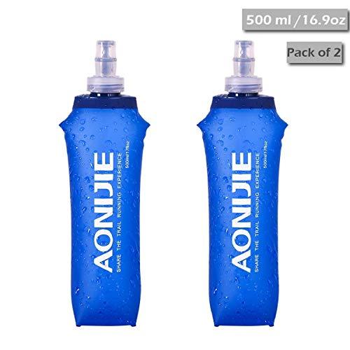 TRIWONDER TPU Soft Folding Trinkflaschen BPA-Free Collapsible Flask für Trinkrucksack - Ideal zum Laufen Wandern Radfahren Klettern (500 ml / 16.9 oz - Packung mit 2) -