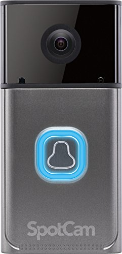 SpotCam Ring Pro | WLAN Video-Türsprechanlage Gegensprechanlage Türklingel mit Kamera (Full-HD, Batteriebetrieben, Wechselbarer Akku, WLAN-Klingel) IP-Video Doorbell | Metallic / Grau