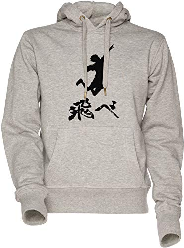 Vendax Haikyuu Hinata Tobe (Fly) Weiss Unisex Herren Damen Kapuzenpullover Sweatshirt Grau Men's Women's Hoodie Grey
