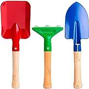 مجموعة أدوات الحديقة للأطفال من هوم تشمل حقيبة ومنكش يدوي ومجرفة ورفش