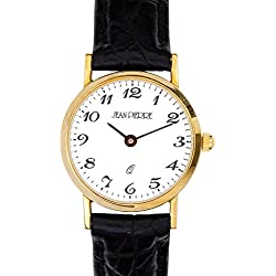 Ladies 9ct Gold Wristwatch with Standard Numerals - Black Leather Strap