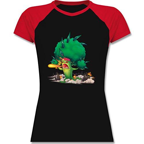 Comic Shirts - Brokkoli Monster - zweifarbiges Baseballshirt / Raglan T-Shirt für Damen Schwarz/Rot