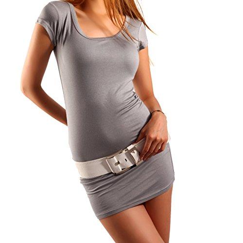 Young Fashion Longshirt Minikleid Basic Shirt Dress Shirt Grau