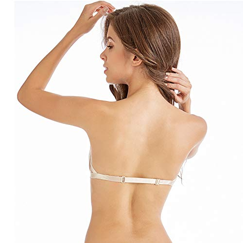 Titu Damen Trägerloser BH in Herzform - Silikon rutschfeste Bügel-BH - Beige - Medium - 2