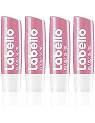 Labello Pearly Shine im 4er Pack (4 x 4,8 g), Lippenpflegestift mit zart schimmerndem Finish, intensive Lippenpflege ohne Mineralöle