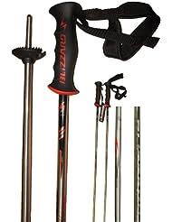 Blizzard G-Force - Palos de esquí F56 (aleación 7075, 14 mm x 120cm), color plateado, negro y rojo