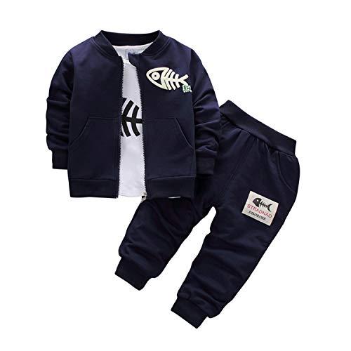 y Jungen Bekleidungsset Kinder Sportanzug Trainingsanzug Freizeit Gentlemant Outfits Sweatshirt Pullover Hoodie Pullover Mantel Tops Hose ()