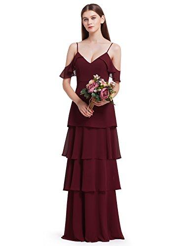 odenlang elegante Rüschen verstellbare Brautjungfern Kleid 38 Größe Burgundy (Rüschen Auf Kleider)