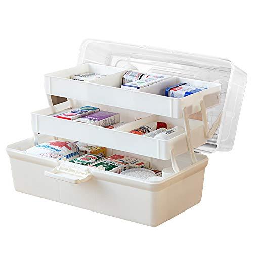 Baffect Medikamentenbox 3 Etage Medizinkasten aus Plastik Arzneikoffer Aufbewahrungsbox für Medizin Erste-Hilfe Medizinbox mit Fächern mit Tragegriff Aufbewahrungsbox, weiß L
