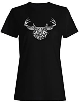 Ciervos en arte blanco y negro Novedad camiseta de las mujeres o76f