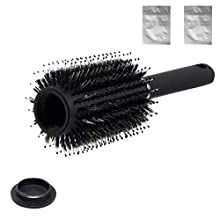 Round Hairbrush with Hidden Compartment, Diversion Safe Hair Brush, Hiding Container for Jewelry, Money and Valuables, Incl. 2 Waterproof & Airproof Bags, Black