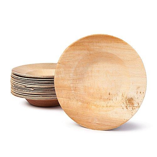 BIOZOYG Hochwertige Einweg Suppenteller tief I rund 23cm 25 Stück Snackschale Palmblattgeschirr Pastateller Salatschale I kompostierbares Einweggeschirr biologisch abbaubar -