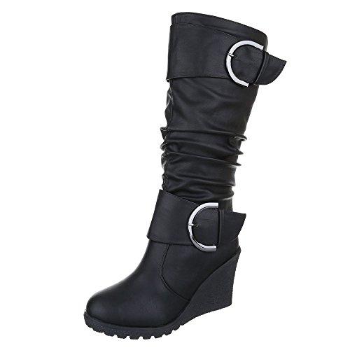 Ital-Design Keilstiefel Damen Schuhe Plateau Keilabsatz/ Wedge Schnallen Deko Reißverschluss Stiefel Schwarz, Gr 37, Jy2013-1-