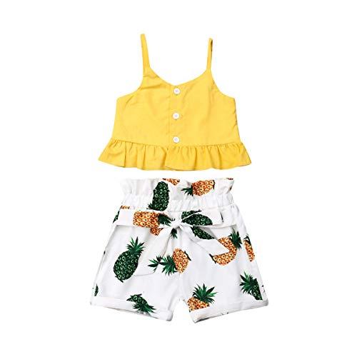 2 Stück Kleinkind Kleidung Baby Mädchen Ärmellos Chrysantheme/Sonnenblume/Ananas drucken T-Shirt Tops Kurze Hosen Outfits Gelber Set Babykleidung Für Strand/Meer/Urlaub (C, 110) -