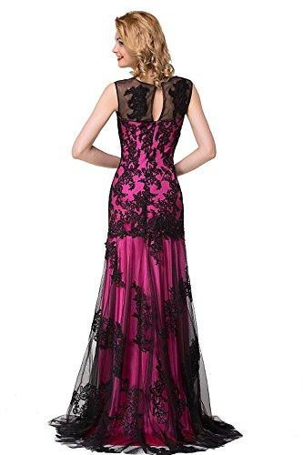 Frauen Spitzenkleid Ballkleid Hochzeitskleid Meerjungfrau Langes Abendkleid Fuchsia 38