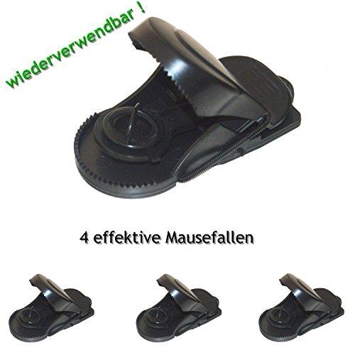 FAIMEX® - 4 Stück Profi Fallen für Mäuse Mausefalle Schlagfalle mouse traps - mehrfach Verwendbar Hygienisch und Robust