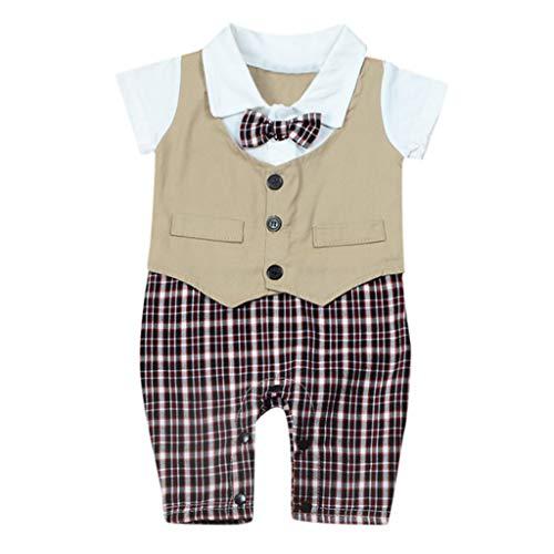 Julhold Neugeborenes Baby Jungen Formelle Herren Sommer Lässige Krawatte Strampler Overall Plaid Kleidung 0-18 Monate