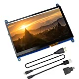 Jun_Electronic For Raspberry Pi 4 Screen, 7 inch HDMI Capacitive IPS Touch Monitor - 1024 * 600 HD LCD Display (Support Raspbian Buster System)
