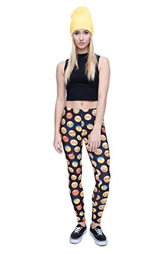 Fringoo Yoga-Leggings für Damen, enganliegend Emoji Black