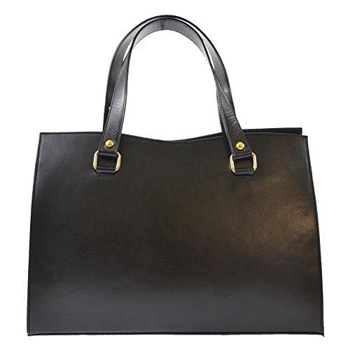 CTM Sac à main classique des femmes en cuir véritable made in Italy D9134 - 38x27x12 Cm