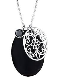 Elli Damen-Halskette Perlmuttscheibe Ornament 925 Silber Muschel Zirkonia schwarz Brillantschliff - 0110190412_70