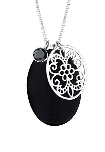 Elli Damen-Halskette Extra Lange Kette Perlmuttscheibe Ornament Zirkonia silber 925 schwarz 0110190412_70 - 70cm Länge
