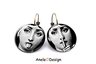 Boucles d'oreilles Fornasetti Piero Fornasseti, Lina Cavalieri, dormeuses bronze bijoux, cadeau femme