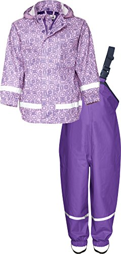 Playshoes Kinder Regenanzug, Zweiteiliger Matsch-Anzug für Jungen und Mädchen mit abnehmbarer Kapuze, mit Ornament-Muster - Mädchen Kapuzen Jacke Baby