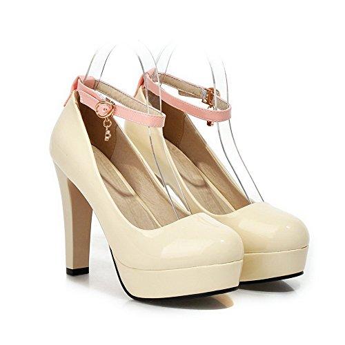 VogueZone009 Damen Schnalle Rund Zehe Hoher Absatz Pu Leder Gemischte Farbe Pumps Schuhe Cremefarben