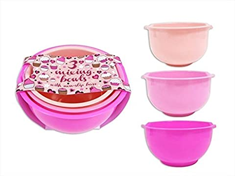 Pack Of 3 Pink Kitchen Baking & Mixing Plastic Bowls