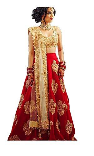 Limedeal Women\'s Taffeta Silk Embroidered Lehenga Choli (Red Diamond, Free Size)