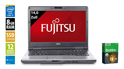 Fujitsu Lifebook S752 | Notebook | Laptop | 14,0 Zoll (1366x768) | Intel Core i5-3320M @ 2,6 GHz | 8GB DDR3 RAM | 250GB SSD | DVD-Brenner | Windows 10 Home (Zertifiziert und Generalüberholt) -